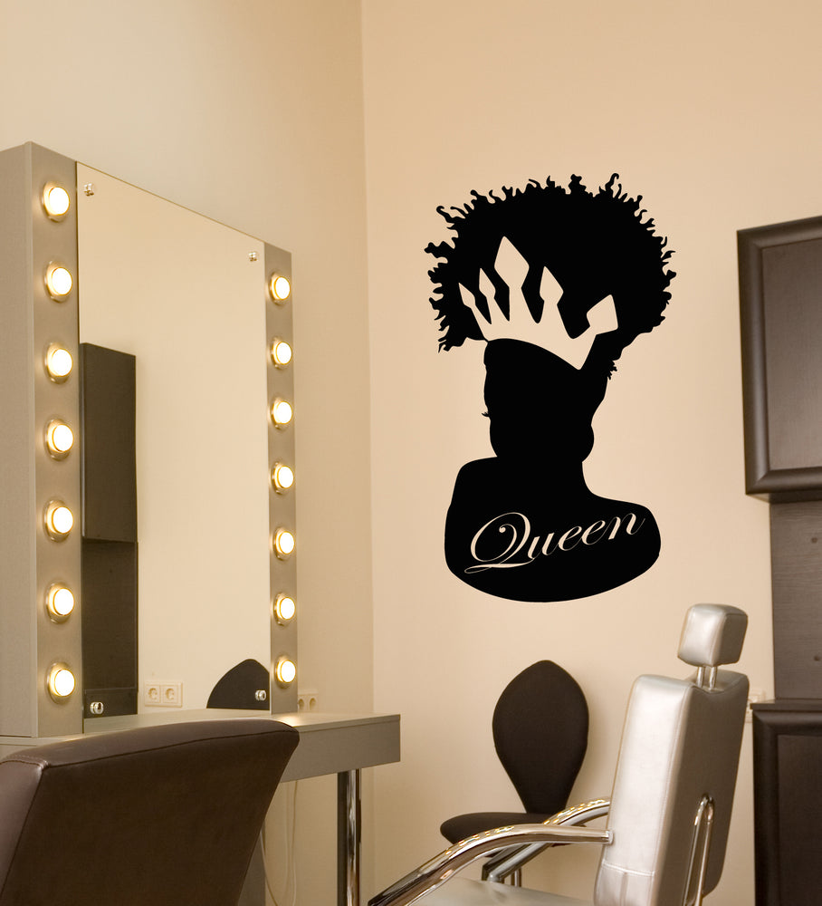 Vinyl Wall Decal African Black Queen Crown Logo Beauty Salon Stickers Wallstickers4you