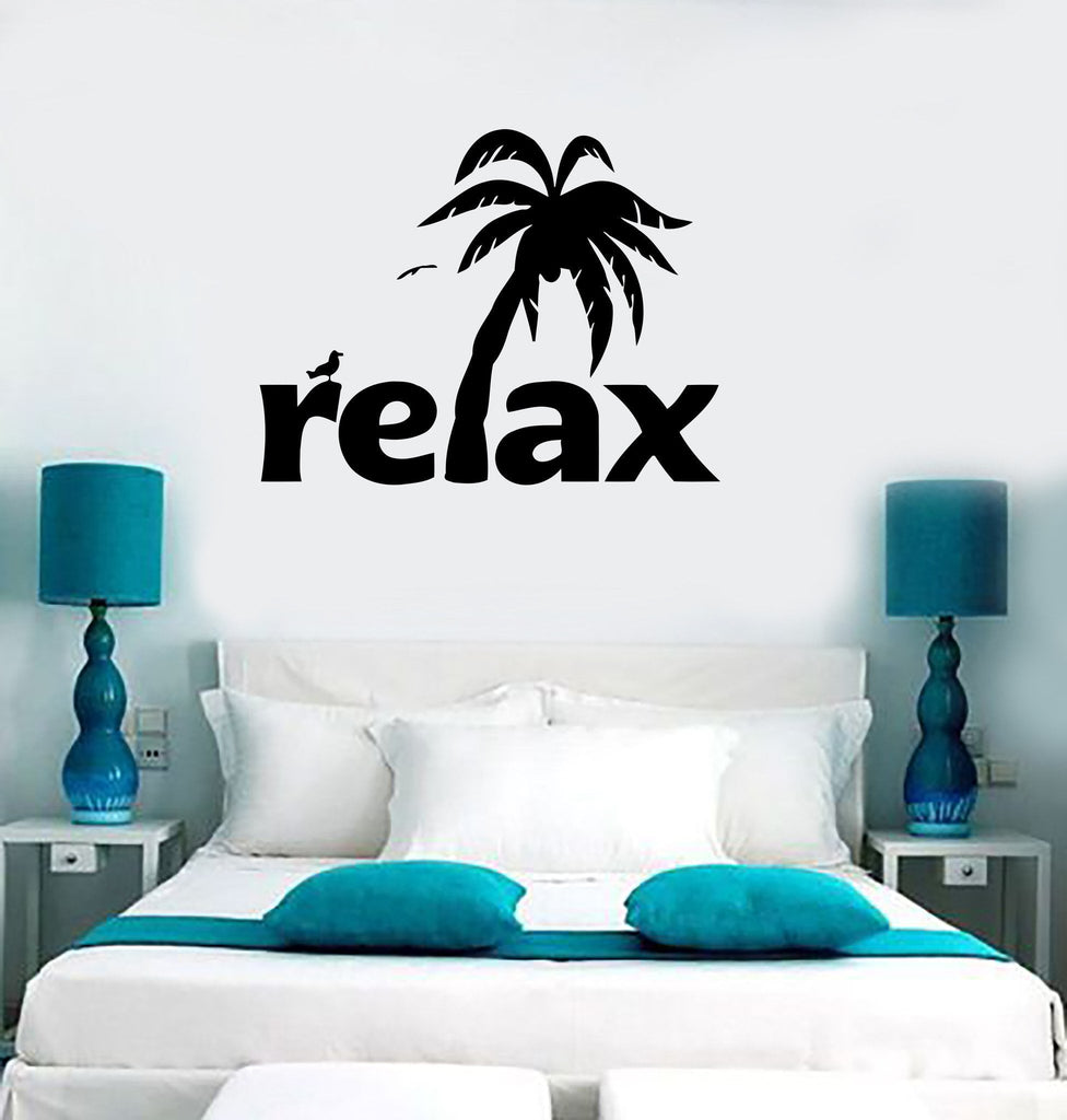 Wall Sticker Vinyl Decal Relax Tropical Palm Beach Spa Salon Tourism Unique Gift (ig800)
