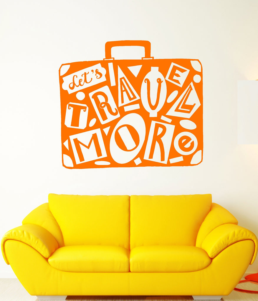 Vinyl Wall Decal Retro Suitcase Traveler Travel Tourism Motivation ...