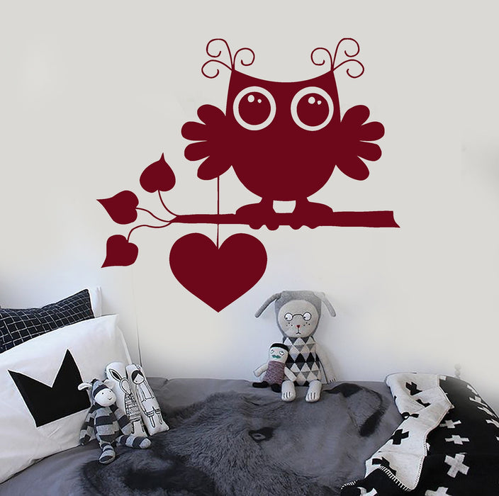 Wall Stickers Vinyl Decal Cute Owl Bird Love Romantic Heart Cool Decor Unique Gift (ig312)