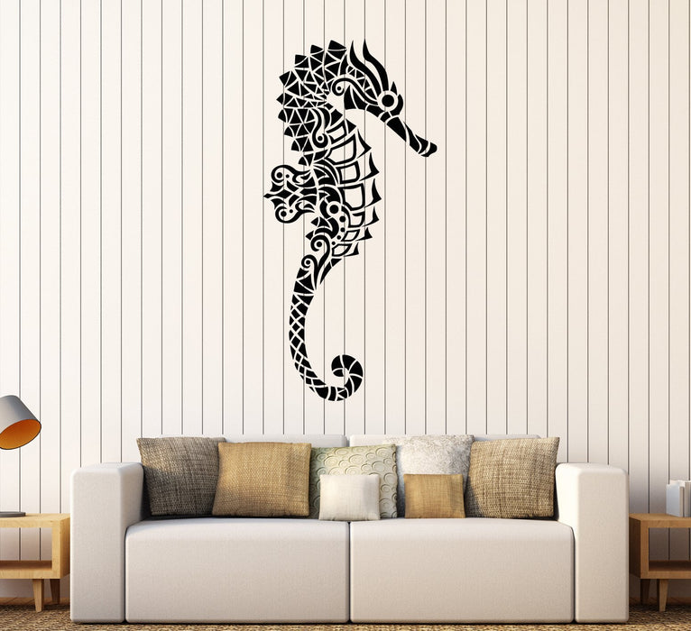 Vinyl Wall Decal Abstract Geometric Seahorse Sea Ocean Animals Stickers (2322ig)