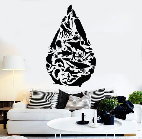 Vinyl Wall Decal Drop Ocean Sea Animals Fishes Octopus Stickers (1133ig)