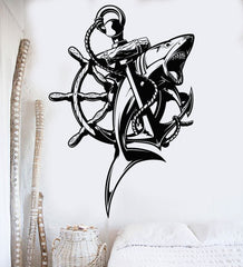 Vinyl Wall Decal Anchor Shark Nautical Marine Sea Decor Stickers Unique Gift (381ig)