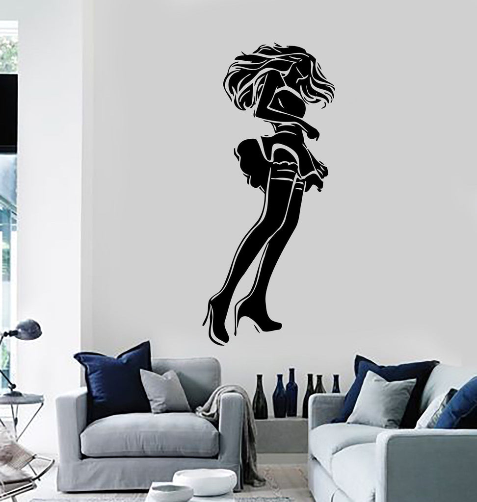 wall stickers vinyl decal hot sexy woman short skirt stockings
