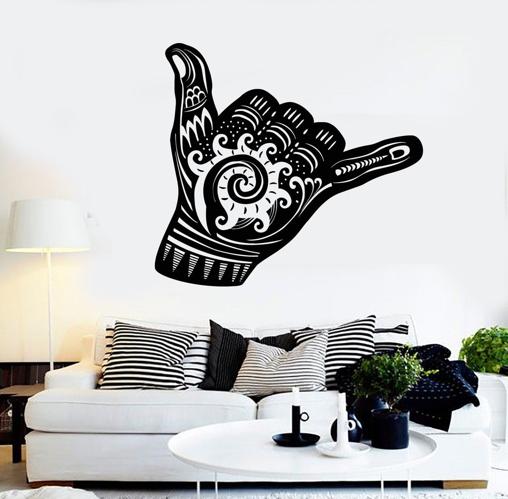 Vinyl Wall Decal Shaka Sign Hang Loose Surfing Wave Stickers Mural - How do you put up vinyl wall decals