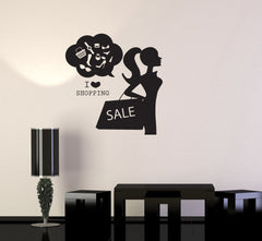 Vinyl Decal Shopping Girl Woman Style Fashion Sale Wall Sticker Mural Unique Gift (ig2720)