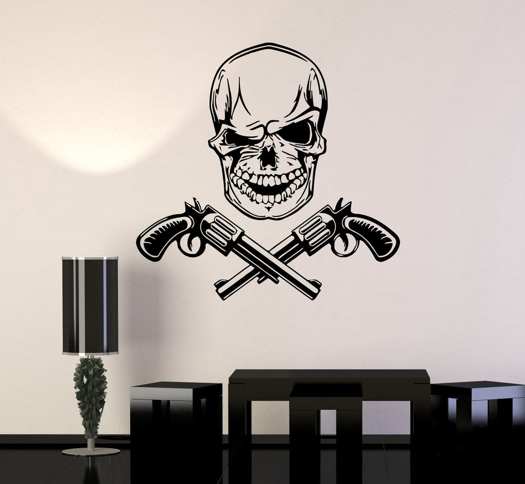 Skull Wall Stickers Gun Revolver Death Mafia Vinyl Decal (ig492)