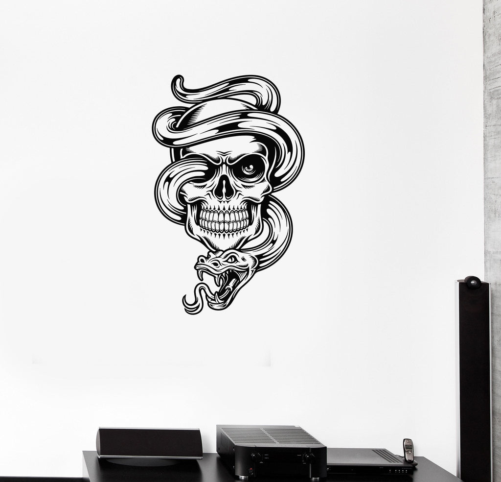 Vinyl Decal Skull Death Snake Tattoo Wall Stickers Mural Unique Gift (ig2727)