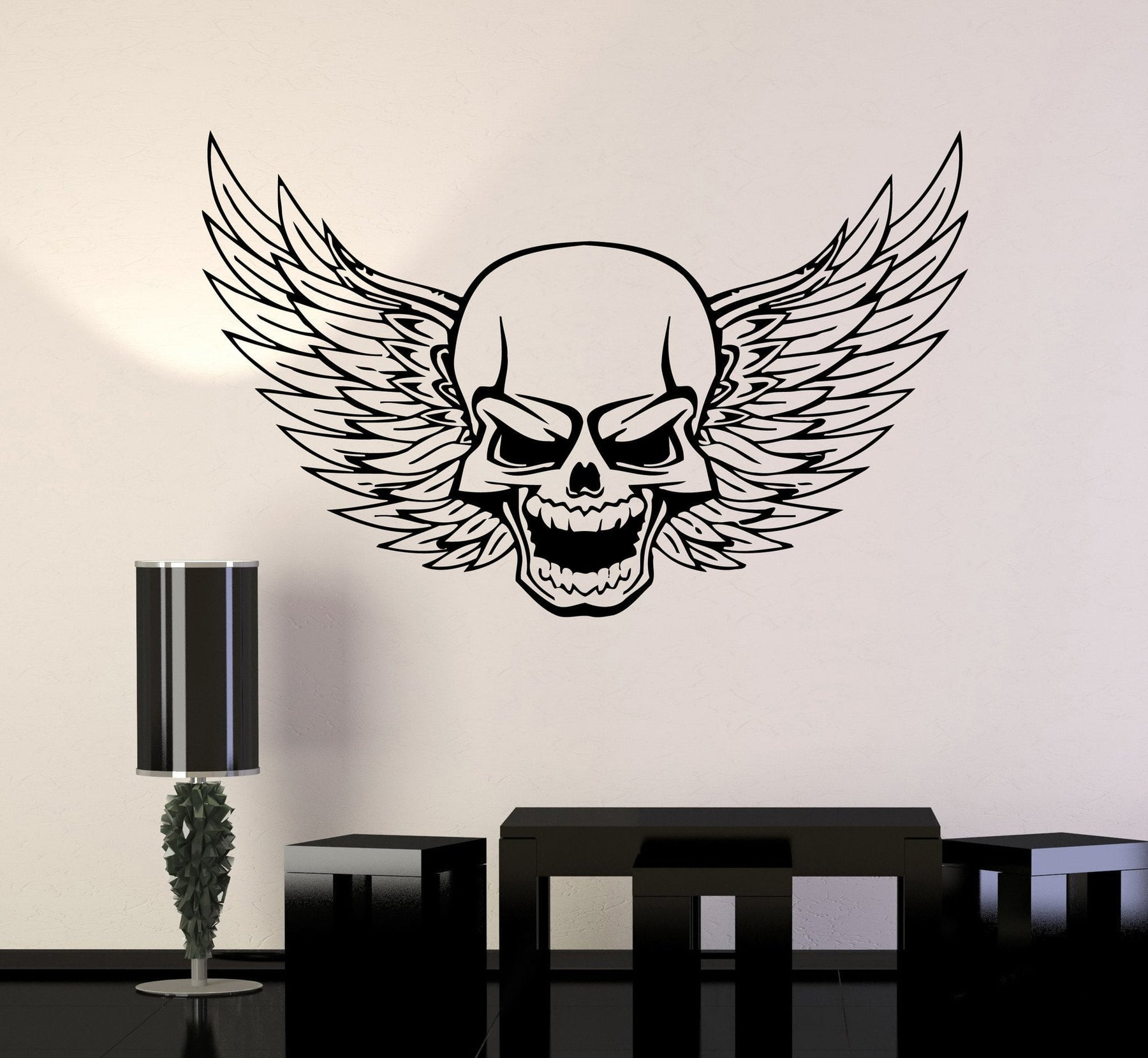 Skull Wall Vinyl Stickers Decal Wings Death Decor for Garage Car Unique Gift (ig493)