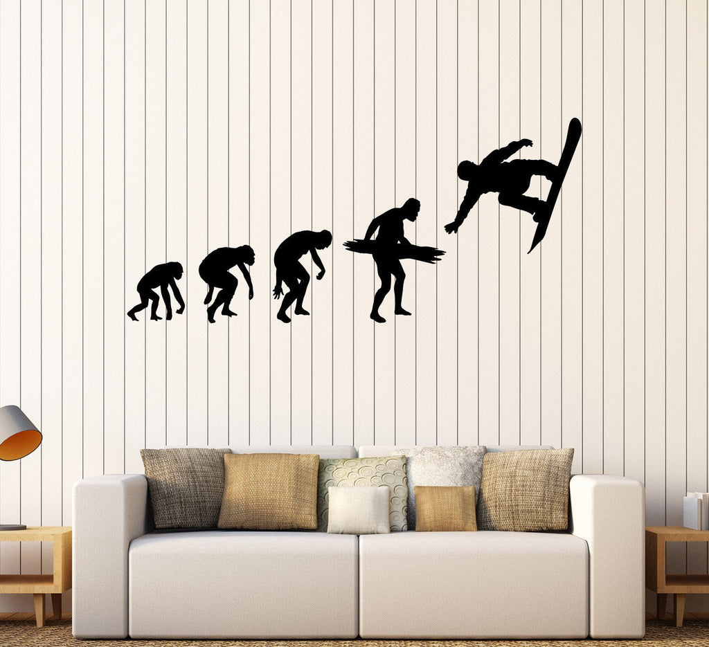 Vinyl wall decal snowboarding evolution extreme sport teenager art sti wallstickers4you