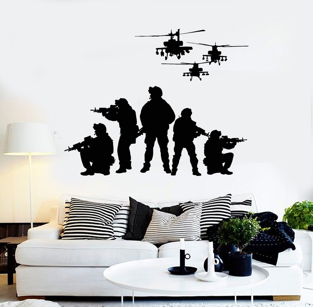 Vinyl Wall Decal Soldiers Helicopters Patriotic Art Military Stickers Unique Gift (ig4077) : wall vinyl decal - www.pureclipart.com