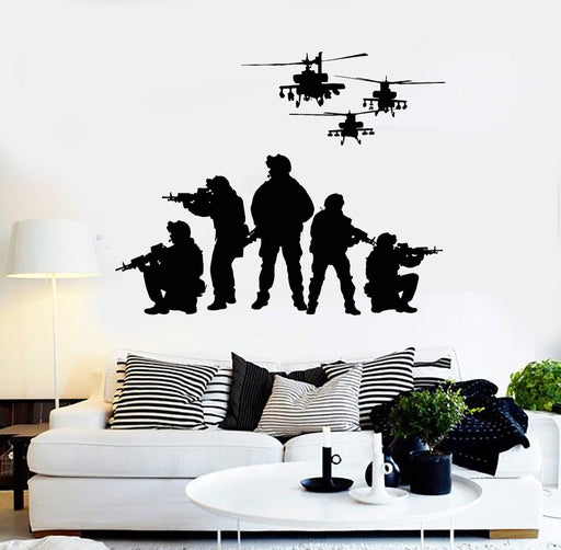 Vinyl Wall Decal Soldiers Helicopters Patriotic Art Military Stickers Unique Gift (ig4077)