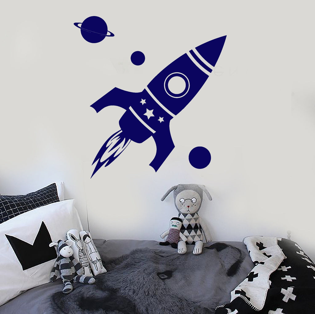 Vinyl Wall Decal Rocket Space Planet Kids Room Stickers Unique Gift