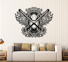 Vinyl Wall Decal Baseball Wings Sports Fan Ball Bat Teen Stickers Mural Unique Gift (096ig)