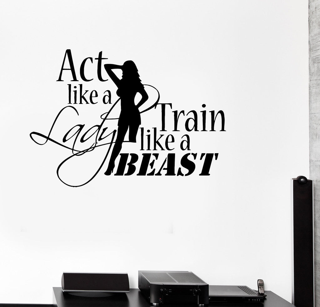 Gym Wall Design: Vinyl Decal Sports Quote Motivation Bodybuilding Gym Woman