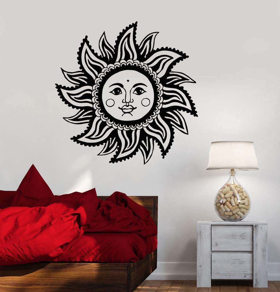 Vinyl Wall Decal Abstract Sun Face Room Decoration Stickers Unique - Vinyl wall decals abstract