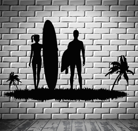 Surfing Wall Stickers Beach Sports Couple Island Vacations Relax Decal (ig2488)