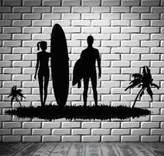 Surfing Wall Stickers Beach Sports Couple Island Vacations Relax Decal Unique Gift (ig2488)