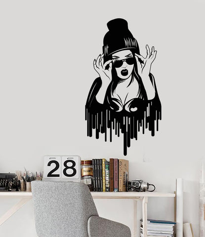 Vinyl Wall Decal Swag Style Sexy Girl In Sunglasses Teen Room Stickers (3225ig)