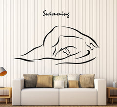 Cool Vinyl Wall Decal Swimming Swim Swimmer Water Sports Stickers (ig4537)