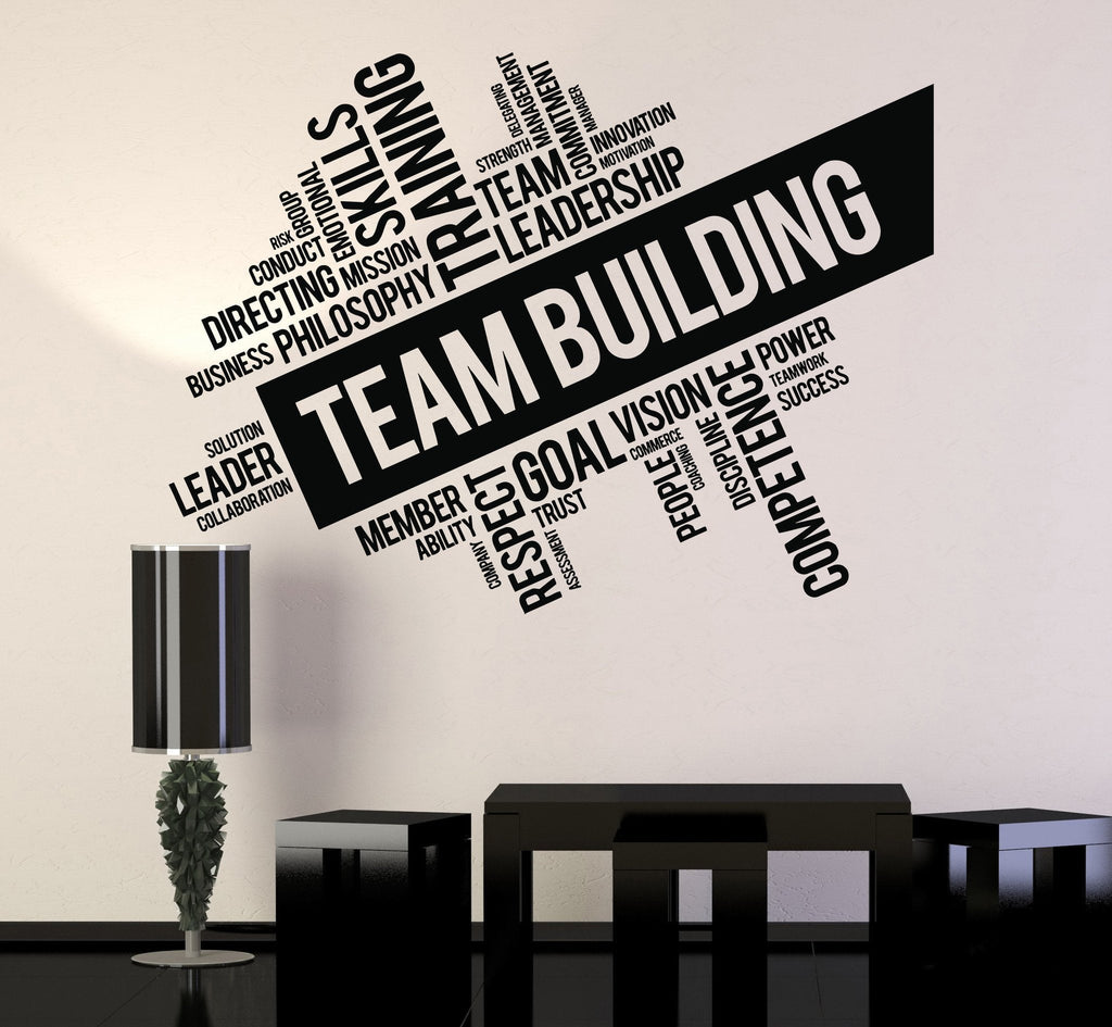 Charmant Vinyl Wall Decal Team Building Words Cloud Office Art Decor Stickers U U2014  Wallstickers4you