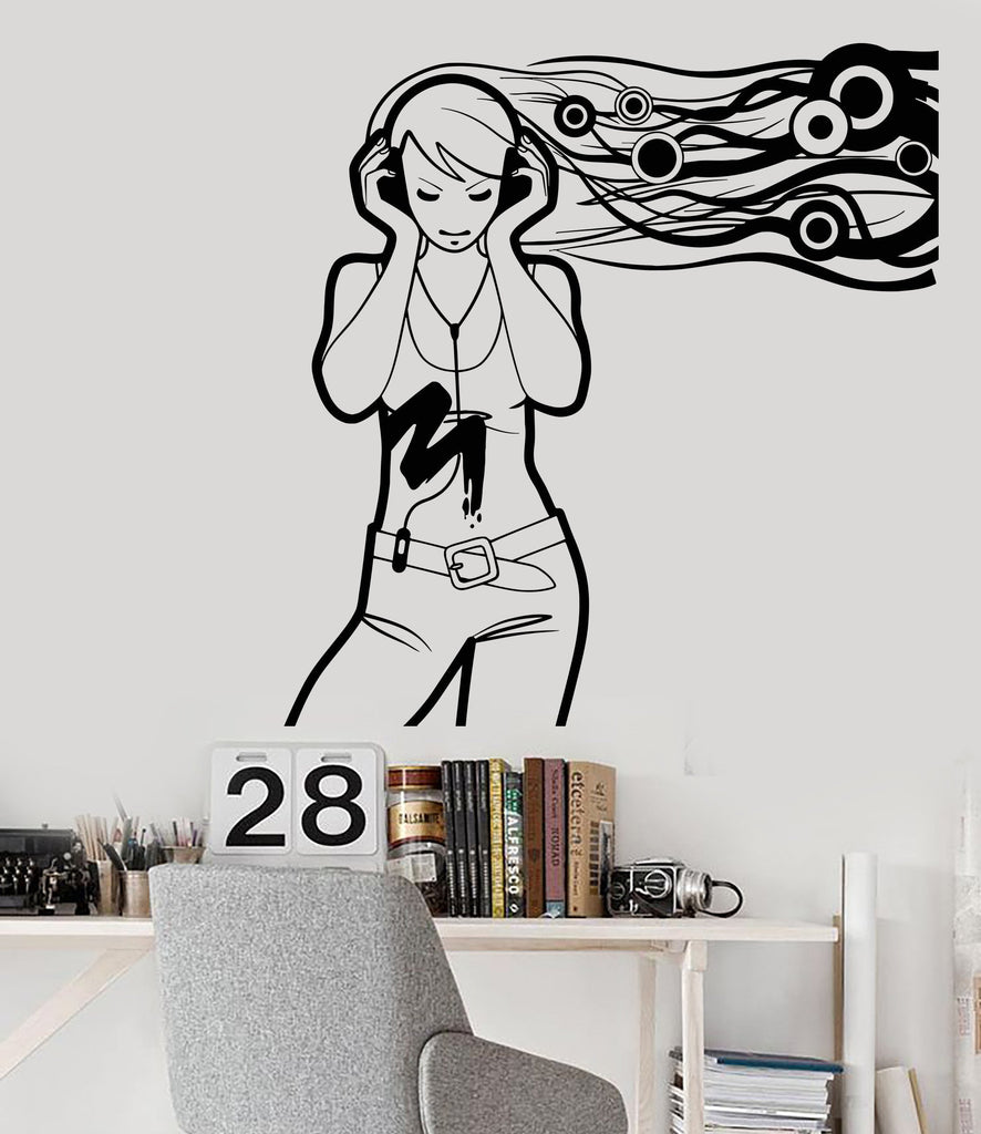 Charming Vinyl Wall Decal Teenager Girl Music Lover Headphones Stickers Unique U2013  Wallstickers4you