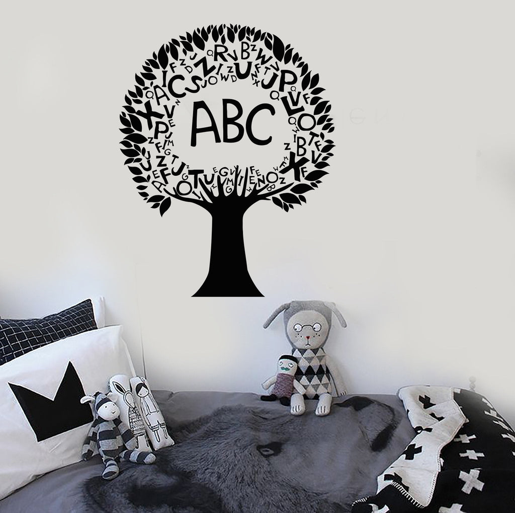Vinyl Wall Decal Tree Alphabet Nursery Elementary School Language Stickers Unique Gift (ig3535) : alphabet tree wall decal - www.pureclipart.com