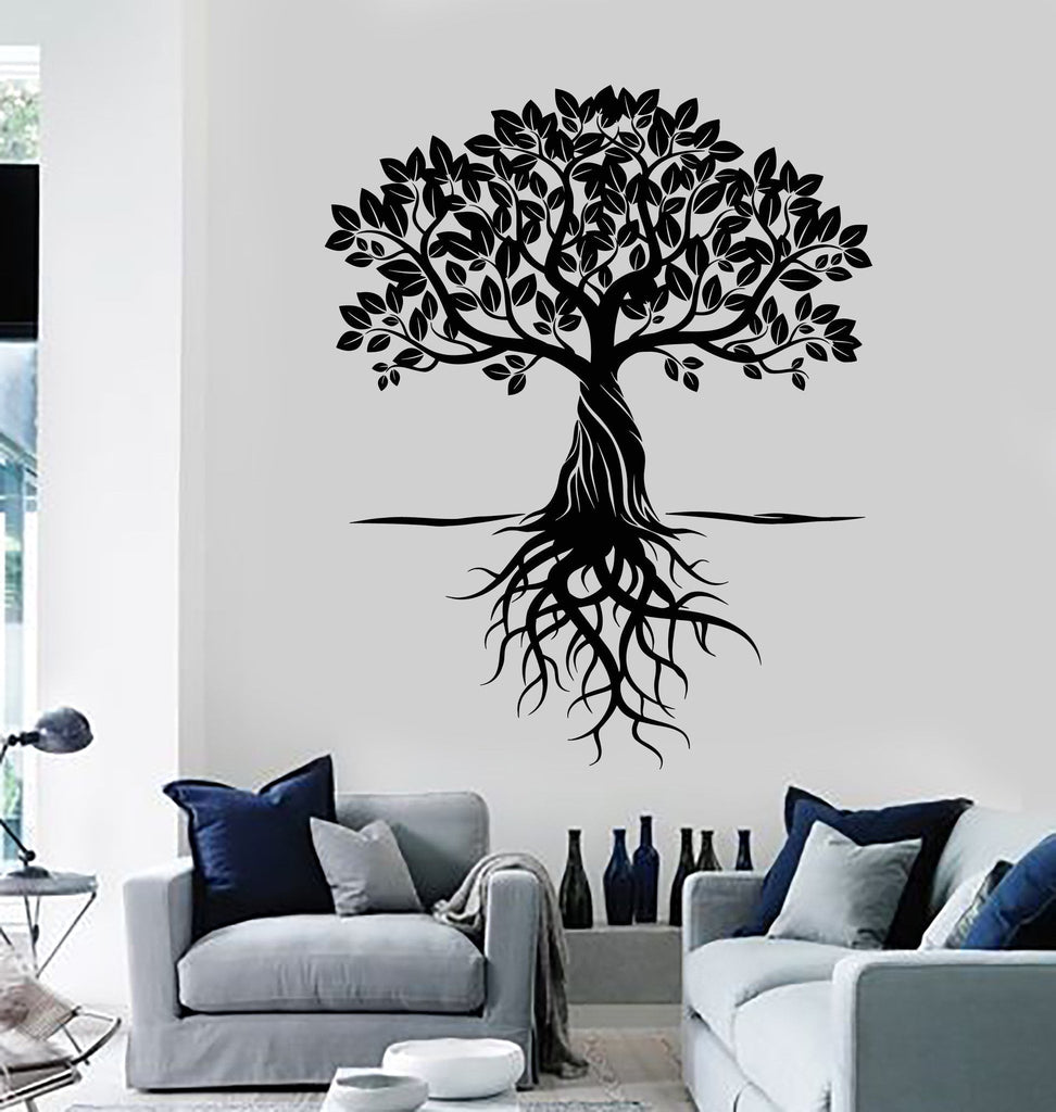 Vinyl Wall Decal Tree Roots Leaves Home Art Decor Stickers Murals ...