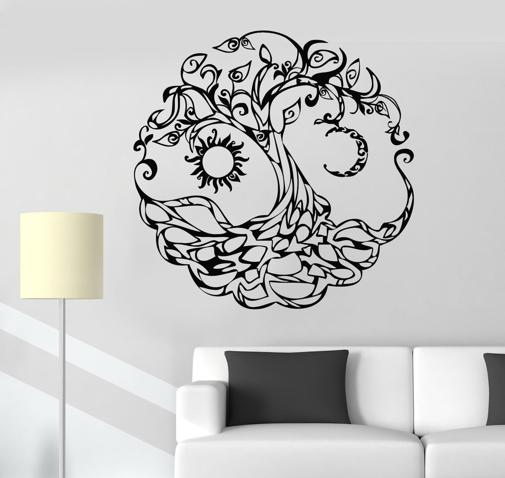 Vinyl Wall Decal Tree Of Life Celtic Symbol Moon Sun Day Night Stickers  Unique Gift (