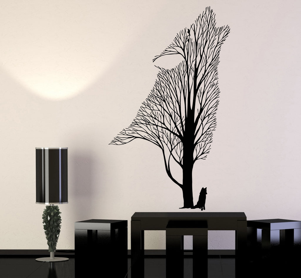 Vinyl Wall Decal Tree Howling Wolf Raven Animals Gothick Style Stickers Unique Gift (1242ig) & Vinyl Wall Decal Tree Howling Wolf Raven Animals Gothick Style ...