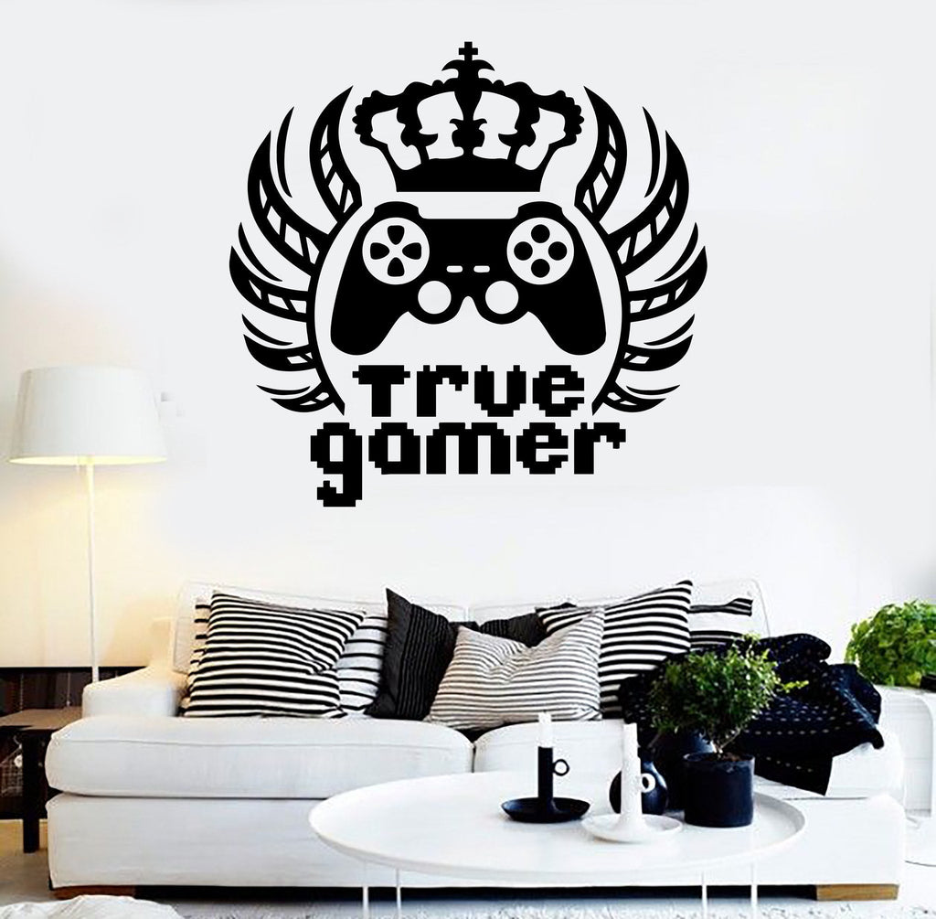 Vinyl Wall Decal True Gamer King Video Game Teen Room Stickers ...