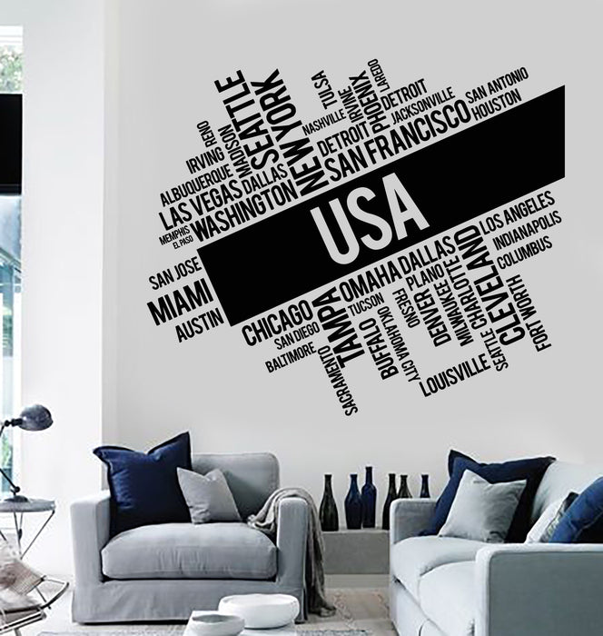 Vinyl Wall Decal USA Cities Abstract Map United States Stickers ...