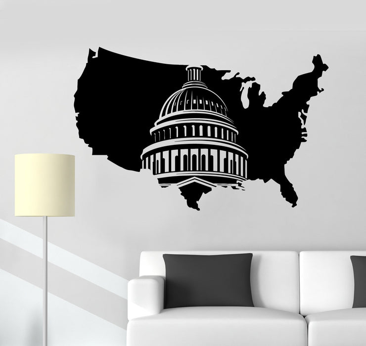 Vinyl Wall Decal USA Map United States Washington Capitol Stickers Mural  Unique Gift (ig4993)