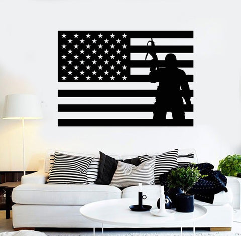 Vinyl Wall Decal USA Flag Soldier Patriotic Military Art Stickers Unique Gift (ig4093)