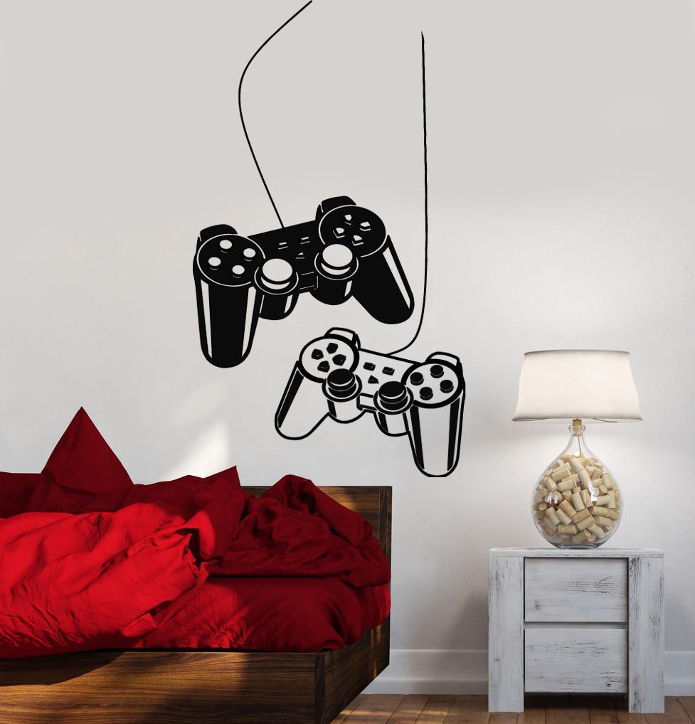Joystick Wall Decal Gamer Video Game Play Room Kids Vinyl