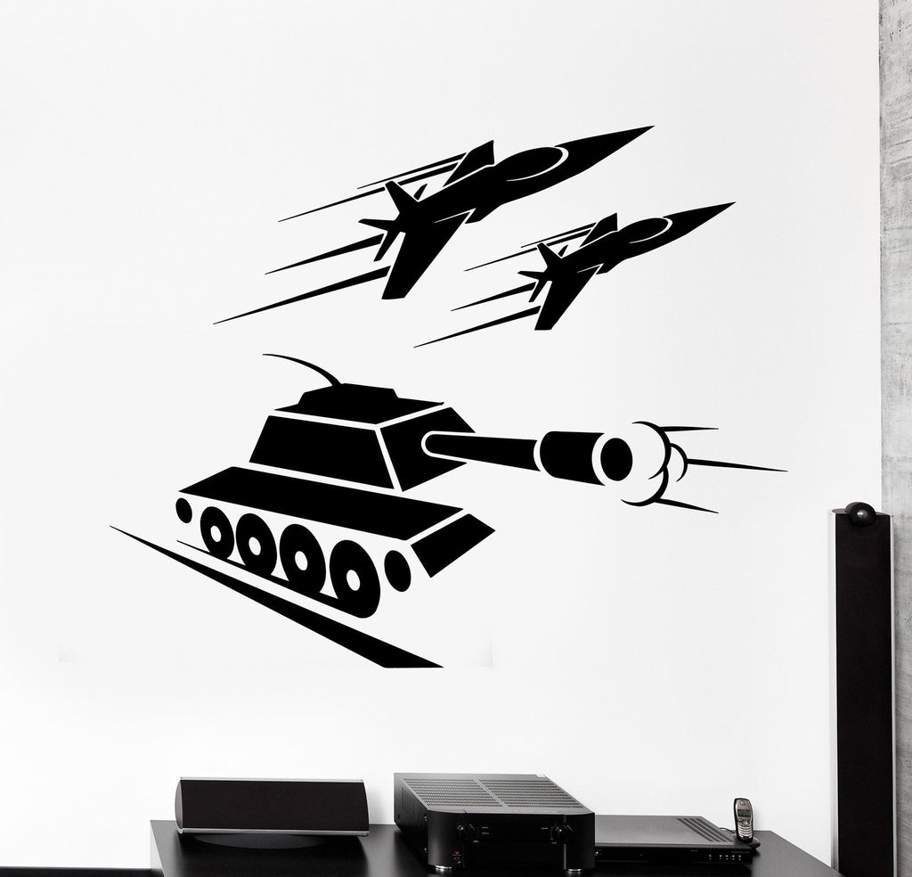 Vinyl Decal Military Tank War Aircraft Aviation Kids Room Wall Stickers Unique Gift (ig2661)