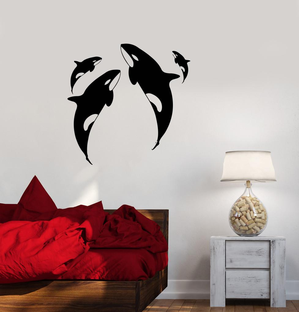 vinyl decal whale ocean marine animals sea wall sticker. Black Bedroom Furniture Sets. Home Design Ideas