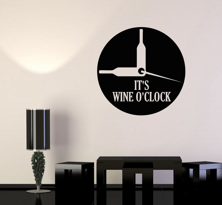 Vinyl Wall Decal Bottle Of Wine Watch Funny Kitchen Decor Quote Stickers 3332ig