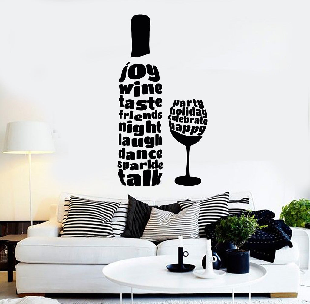 Vinyl Wall Decal Wine Glass Bottle Alcohol Word Bar Stickers - Vinyl stickers for glass bottles