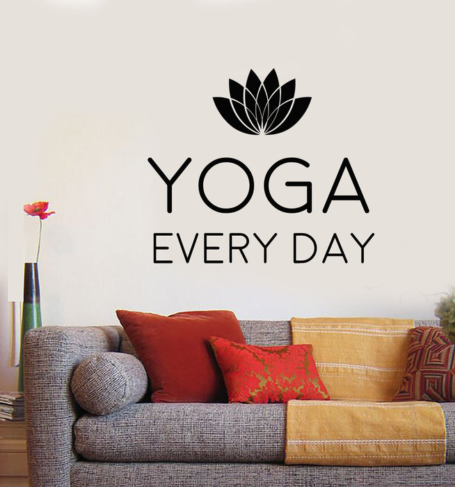 vinyl wall decal motivation quotation words yoga lotus flower