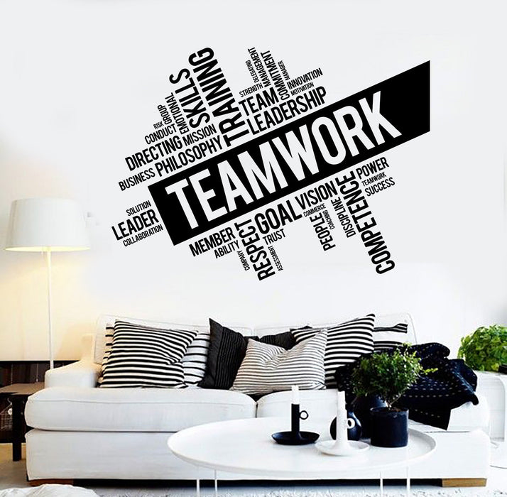 Teamwork Vinyl Wall Decal Word Cloud  Success Office Decor Worker Stickers Unique Gift (ig4152)