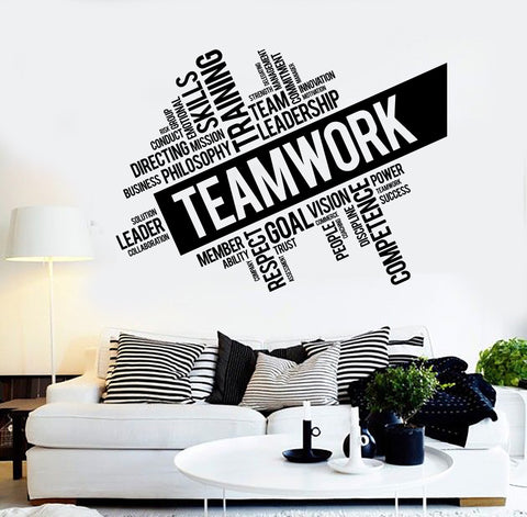 Teamwork vinyl wall decal word cloud success office decor worker stickers unique gift ig4152