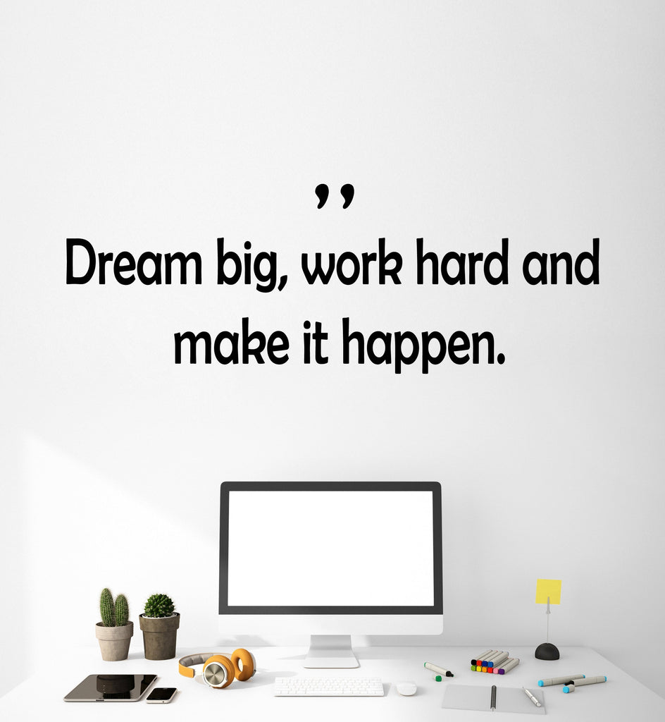 Vinyl Wall Decal Stickers Motivation Quote Words Work Hard Dream Big