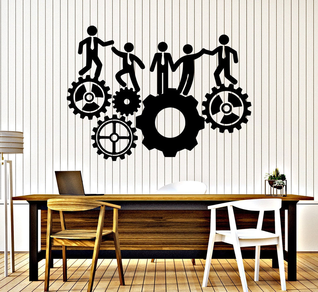 Vinyl Wall Decal Office Team Work Gears Inspiration Stickers Mural Unique  Gift (396ig)