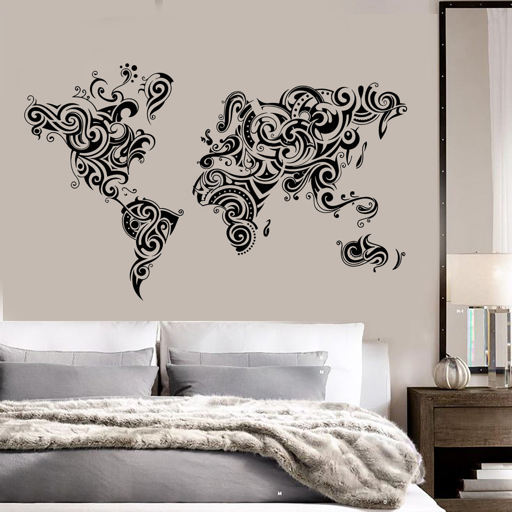 Vinyl wall decal abstract world map room decoration stickers unique vinyl wall decal abstract world map room decoration stickers unique gift 1468ig gumiabroncs Choice Image