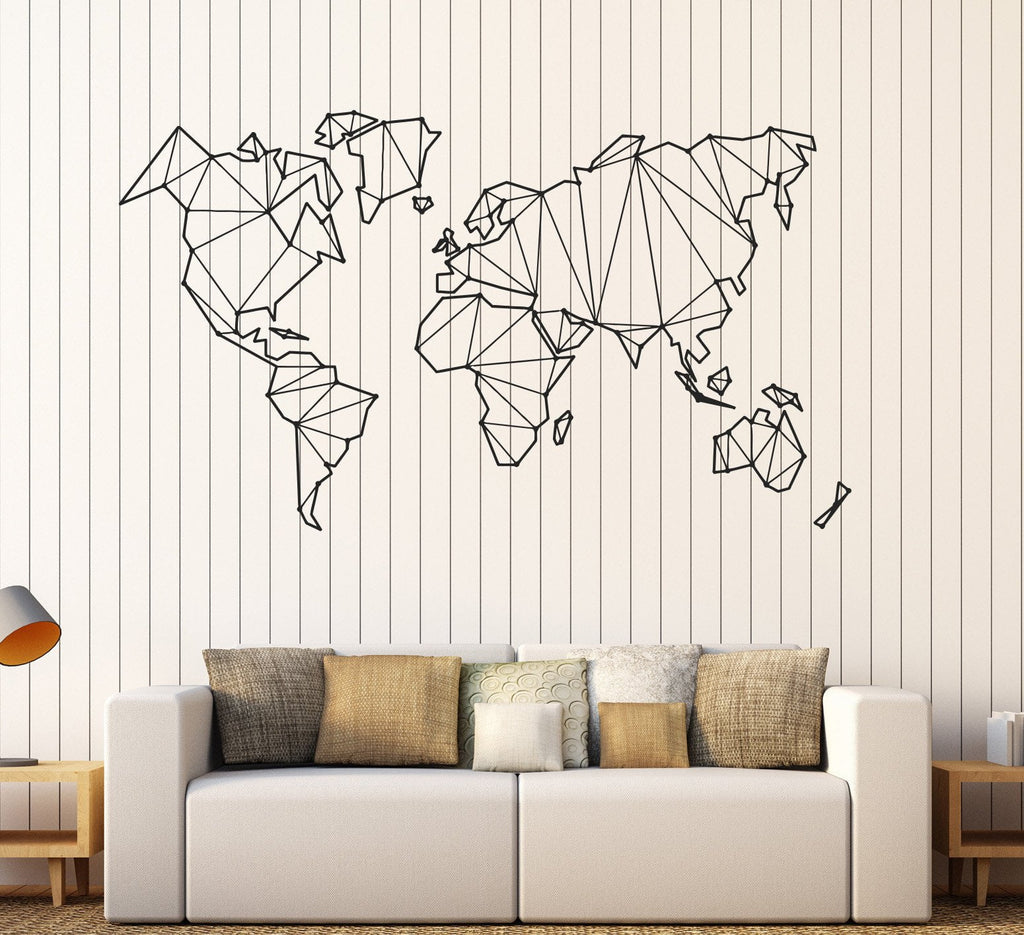 Vinyl Wall Decal Abstract Map World Geography Earth Stickers - Vinyl wall decals abstract