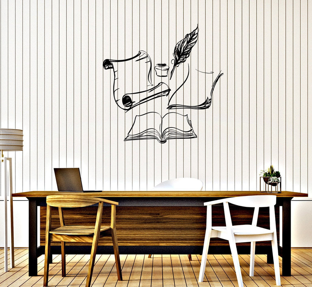 Vinyl Wall Decal Books Ink Letter Writer Nib Pen Quill Stickers - Vinyl wall decals books