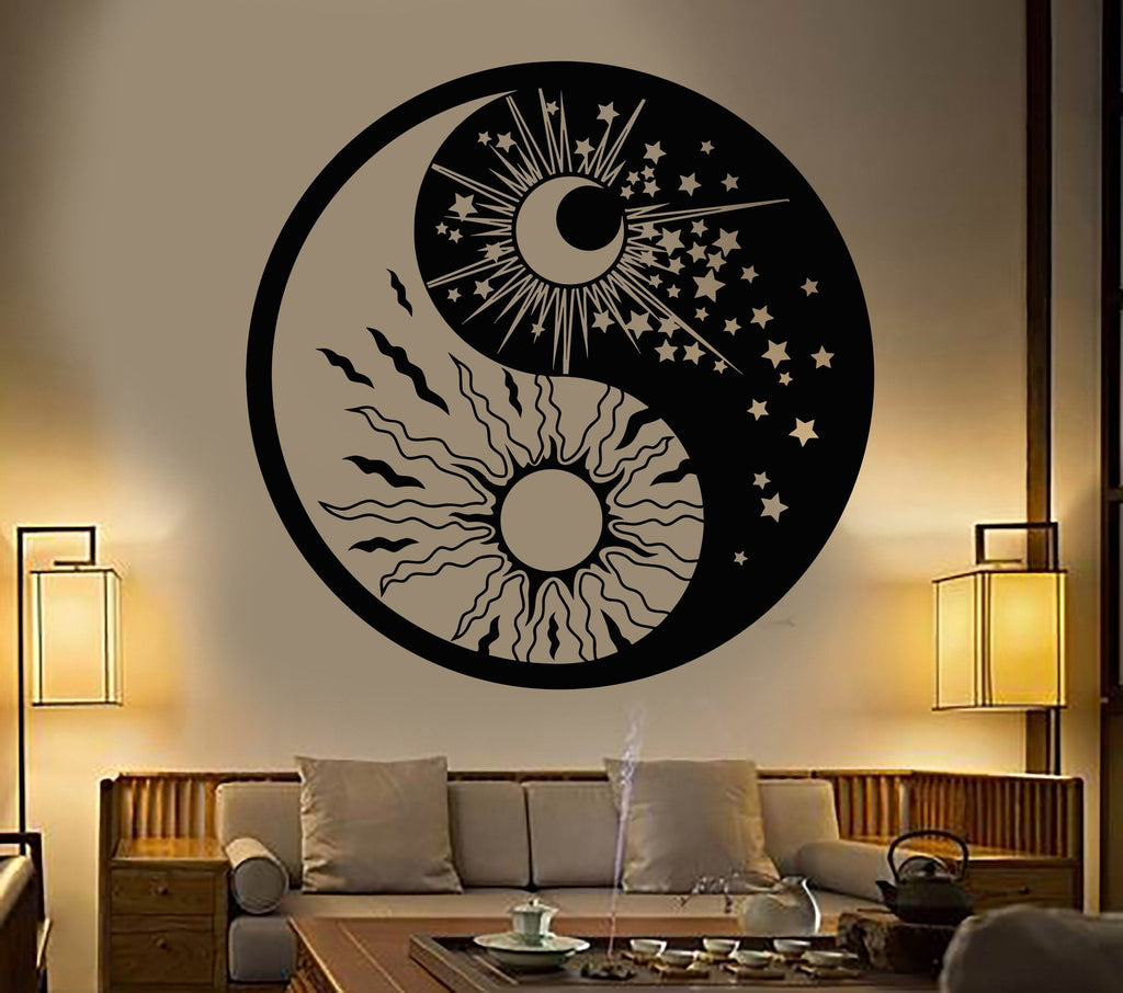 Vinyl Wall Decal Yin Yang Symbol Sun Moon Buddhism Stars Day Night
