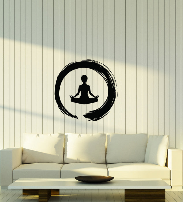 Vinyl Wall Decal Enso Circle Yoga Center Lotus Pose Stickers (4114ig)