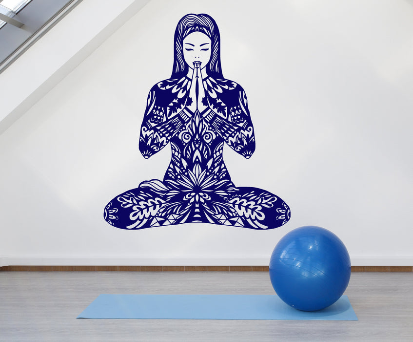 Vinyl Wall Decal Abstract Yoga Girl Pose of Lotus Meditation Stickers Unique Gift (1927ig)